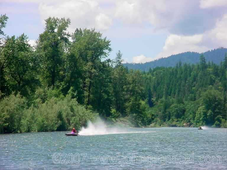 Boatnik Jetboat Races ~ Two Hydroplanes Racing Between Shan Creek and Griffin Park