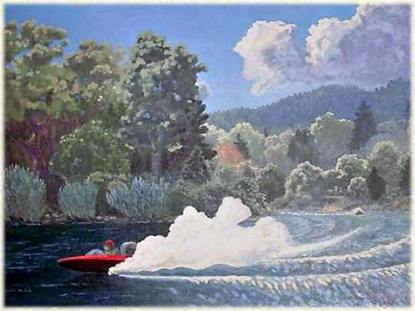 Jetboats in the Grants Pass Memorial Day Race, a short bit downstream from Findley Bend, between Shan Creek and Griffin Park